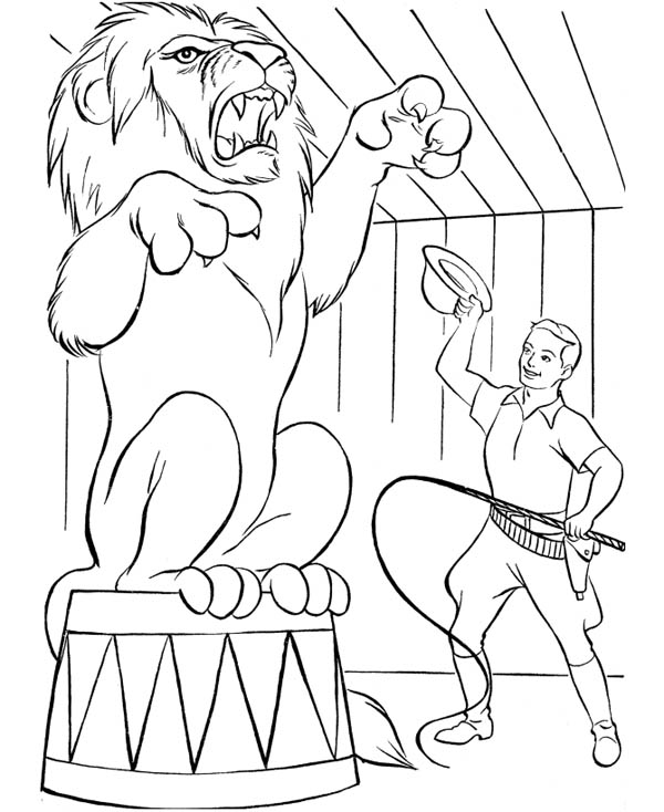 Circus and Carnival, : A Lion Practise with His Trainer in Circus and Carnival Coloring Pages