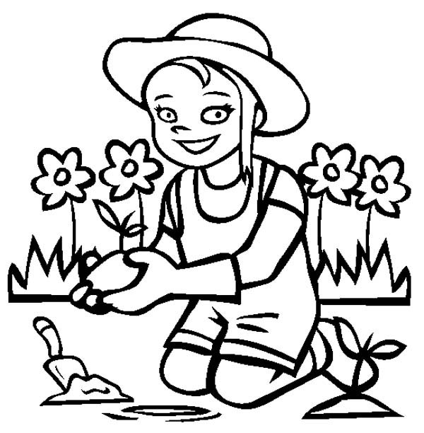 Gardening, : A Little Smile When Gardening Coloring Pages