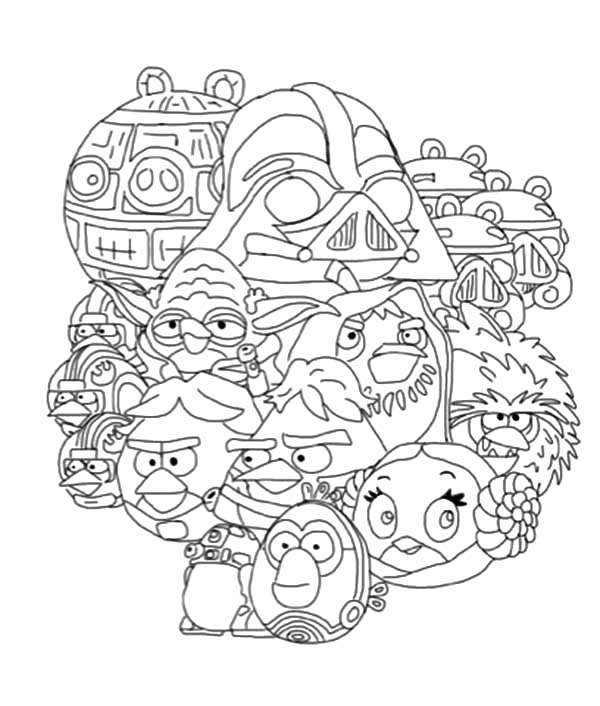 Angry Bird Star Wars, : All Characters of Angry Bird Star Wars Coloring Pages