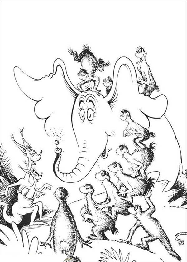 Horton, : All Horton Hears a Who Chracters Amazed by Horton Flower Coloring Pages