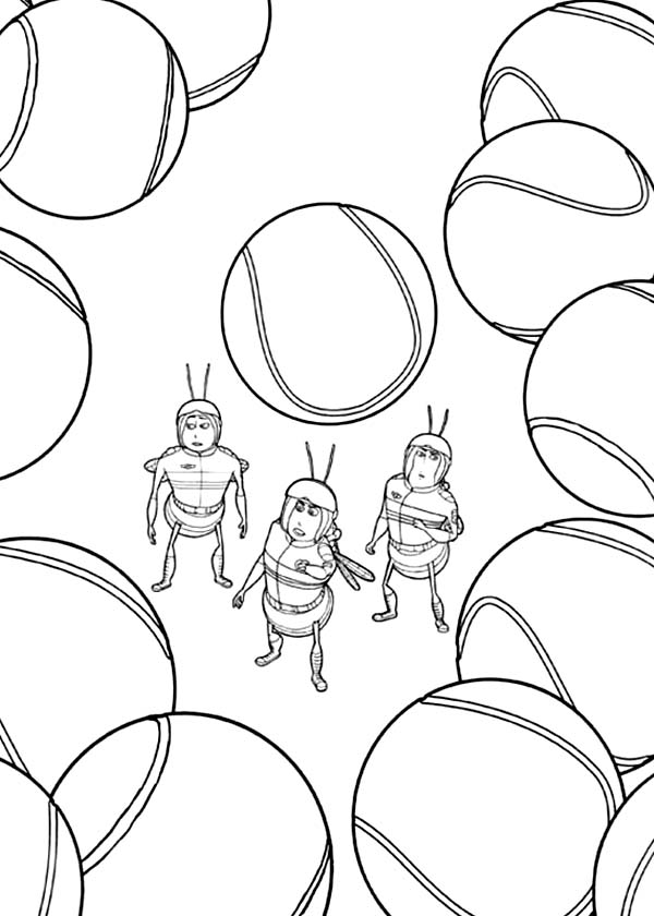 Bee Movie, : All be Among Tennis Ball in Bee Movie Coloring Pages