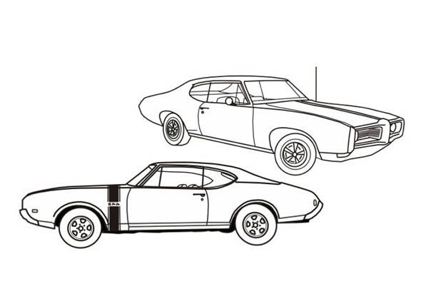 Classic Cars, : American Muscle Classic Cars Coloring Pages