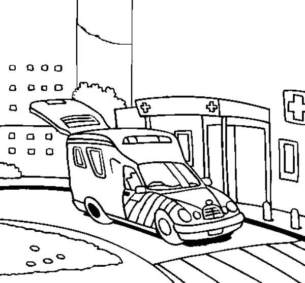 Hospital, : An Ambulance Arrived at the Hospital Coloring Pages