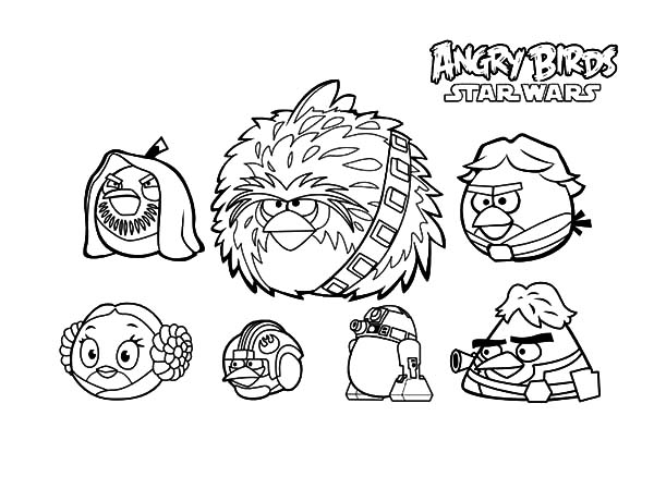 Angry Bird Star Wars, : Angry Bird Star Wars Characters Coloring Pages