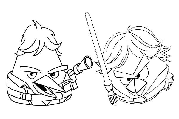 Angry Bird Star Wars, : Angry Bird Star Wars Han Solo and Luke Skywalker Coloring Pages