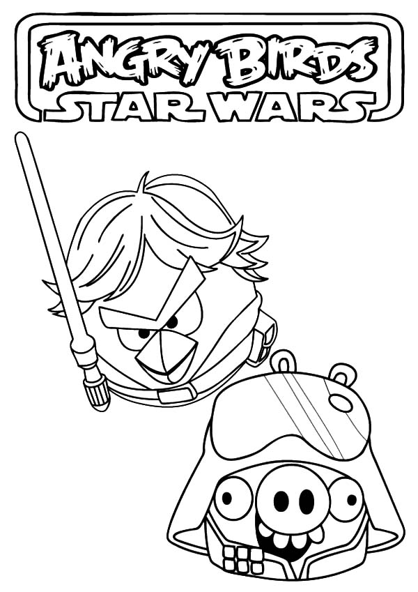 Angry Bird Star Wars, : Angry Bird Star Wars Luke Skywalker Versus Storm Troopers Coloring Pages
