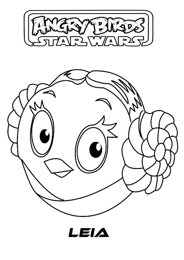 Angry Bird Star Wars, : Angry Bird Star Wars Princess Leia Coloring Pages