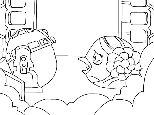 Angry Bird Star Wars, : Angry Bird Star Wars Princess Leia Crying to R2D2 Coloring Pages