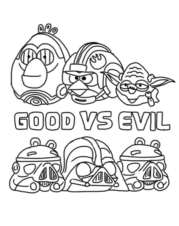 Angry Bird Star Wars, : Angry Bird Star Wars the Good Versus the Evil Coloring Pages