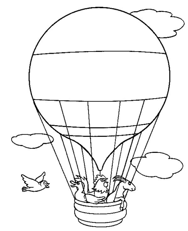 Hot Air Balloon, : Animal Adventure on Hot Air Balloon Coloring Pages