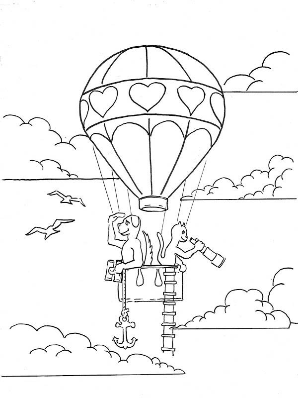 Hot Air Balloon, : Animal Journey Hot Air Balloon Coloring Pages