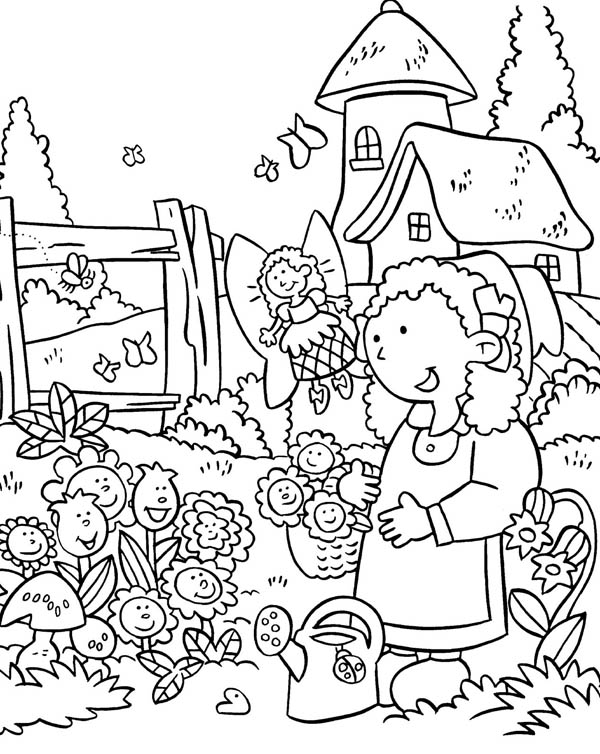 Gardening, : Anne Gardening with Beautiful Fairy Coloring Pages