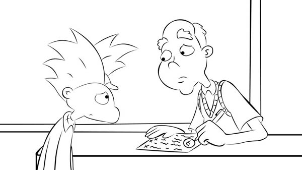 Hey Arnold, : Arnold Taking Advice from Grandpa Phil in Hey Arnold Coloring Pages