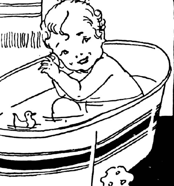 Bath, : Baby Bath with Duck Coloring Pages