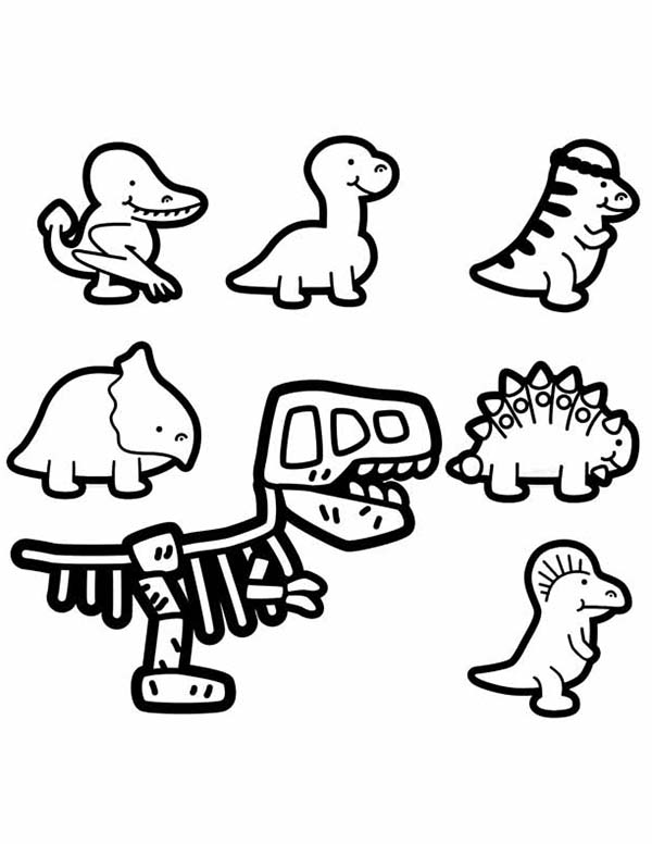 Baby Dinos, : Baby Dinos Chibi Characters Coloring Pages
