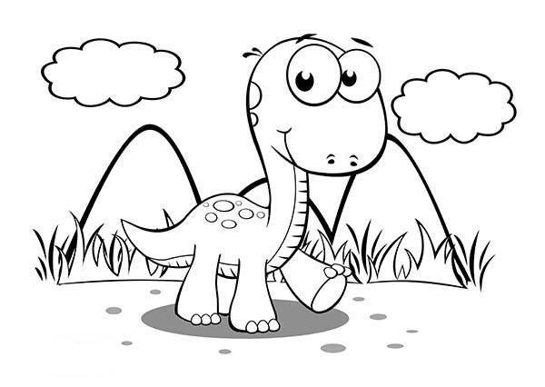 Baby Dinos, : Baby Dinos Take a Walk Alone Coloring Pages