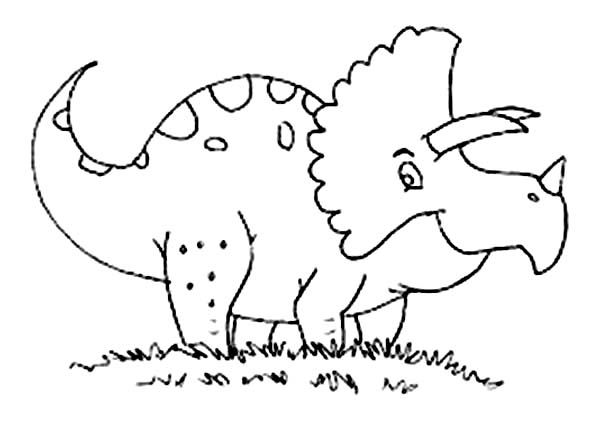 Baby Dinos, : Baby Dinos Triceratop on the Meadow Coloring Pages
