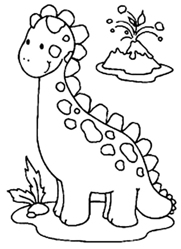 Baby Dinos, : Baby Dinos and Volcano Coloring Pages