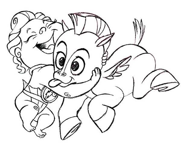 Hercules, : Baby Hercules and Baby Pegasus Coloring Pages