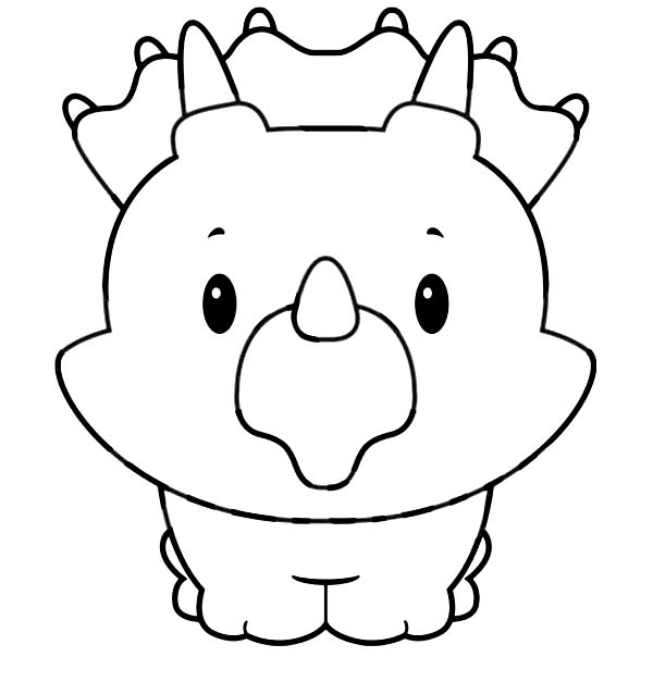Baby Dinos, : Baby Triceratops Smiling in Baby Dinos Coloring Pages