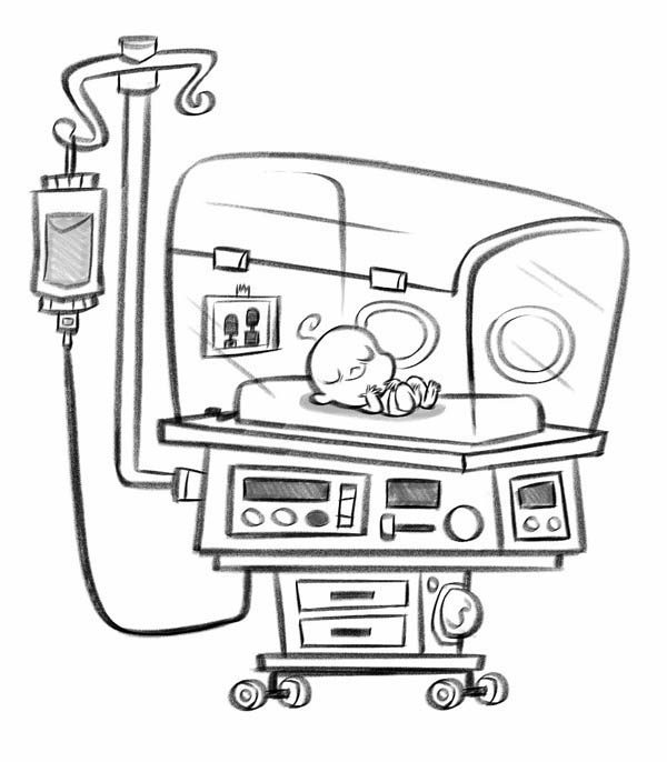 Hospital, : Baby in Incubator in Hospital Coloring Pages