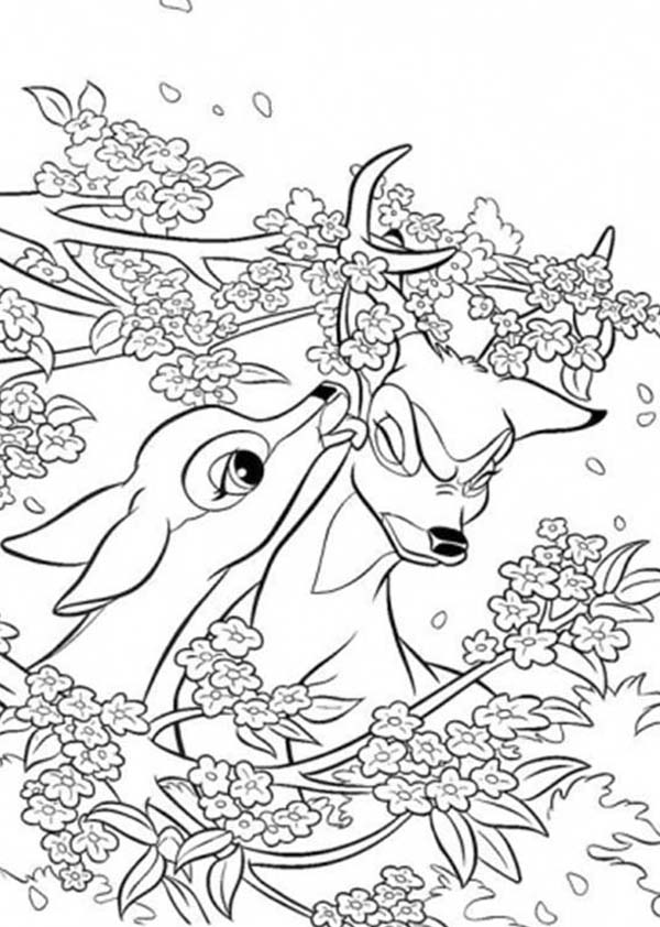 Bambi, : Bambi Helping Her Mother Horn Stuck on Tree Coloring Pages