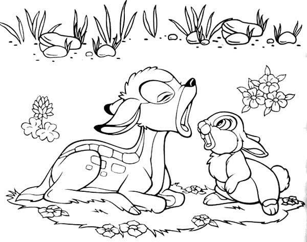 Bambi, : Bambi Screaming at Thumper Coloring Pages