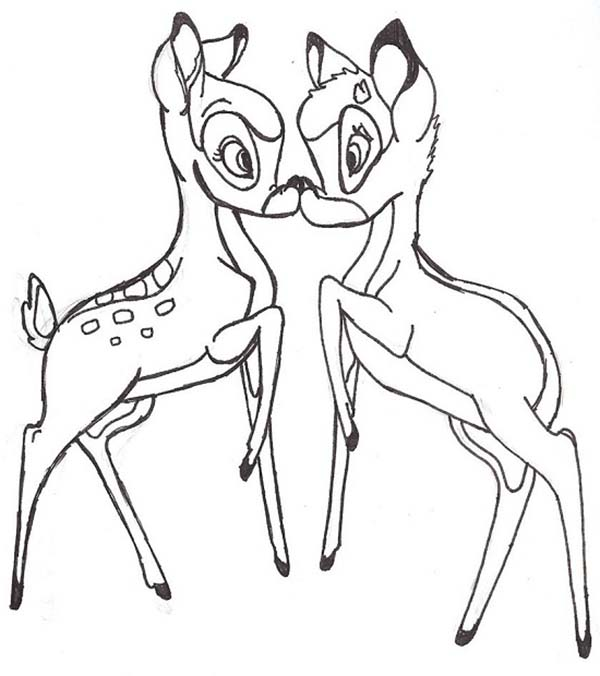 Bambi, : Bambi and Faline Coloring Pages
