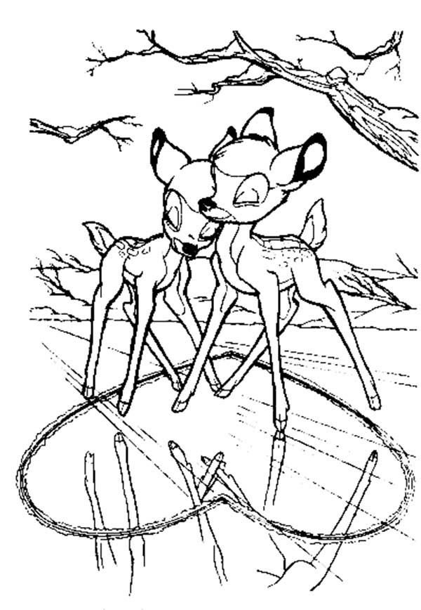 Bambi, : Bambi and Faline Love Each Other Coloring Pages