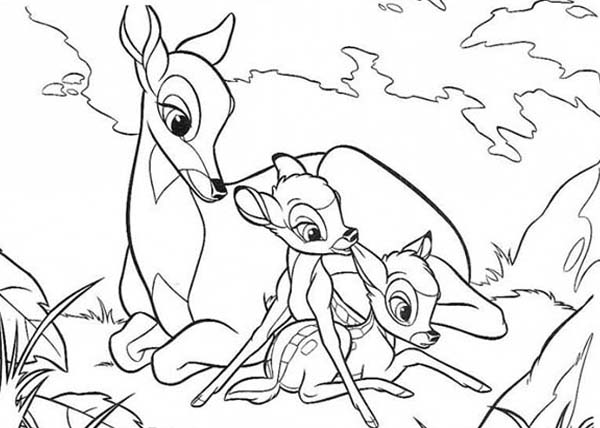 Bambi, : Bambi and Faline Sitting Relaxing with Bambi's Mother Coloring Pages