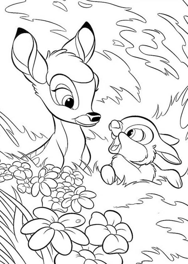 Bambi, : Bambi and Thumper Hide Behind Grass Coloring Pages