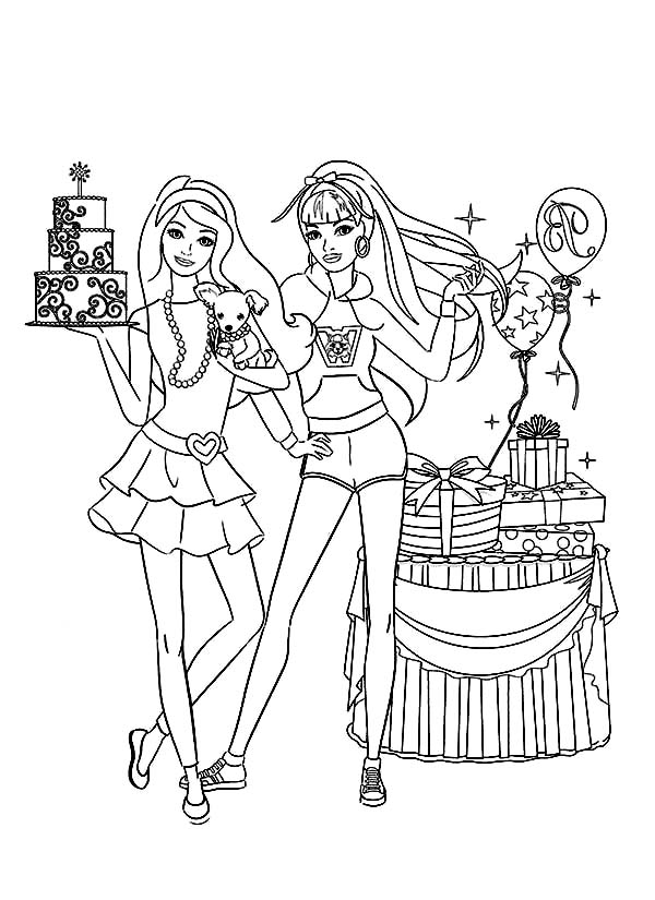 Barbie, : Barbie Birthday Party Coloring Pages