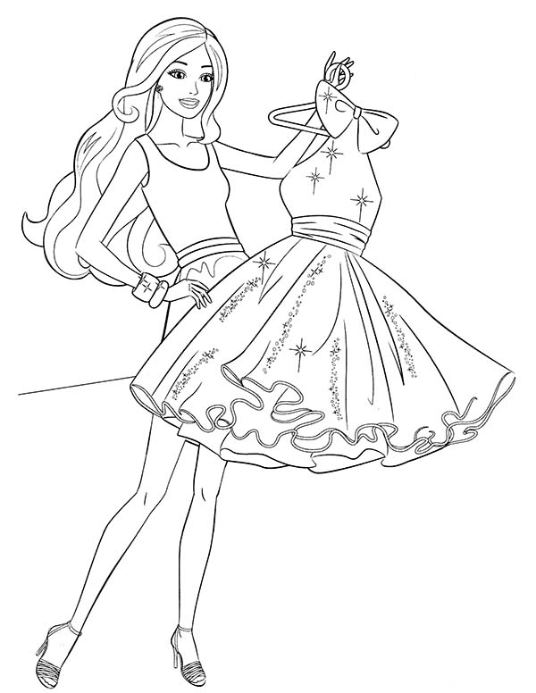 Barbie, : Barbie Buying New Dress Coloring Pages