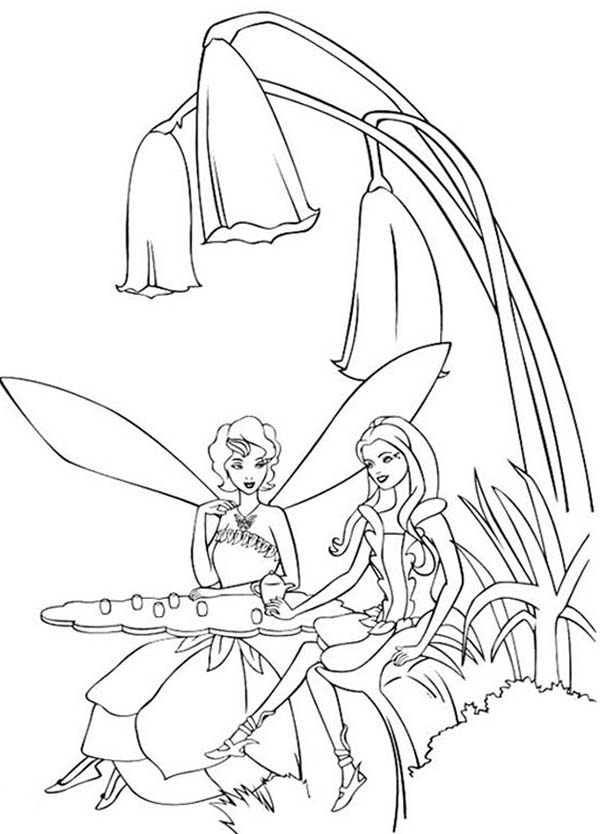 Barbie, : Barbie Fairy Sitting Under Beautiful Flower Coloring Pages