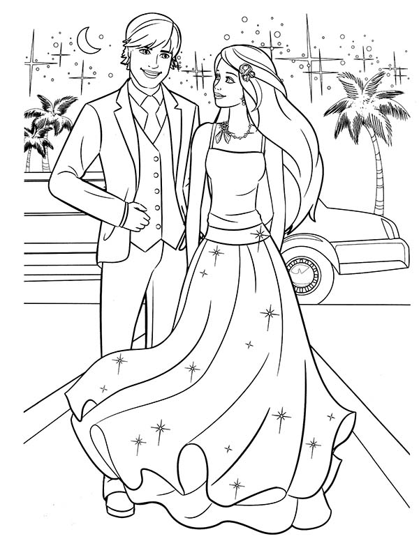 Barbie, : Barbie and Ken Going to Prom Party Coloring Pages