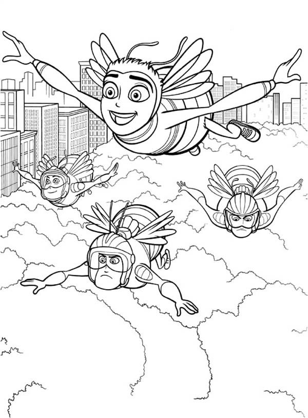 Bee Movie, : Barry Bee Benson Flying Over the Clouds with Pollen Jocks in Bee Movie Coloring Pages