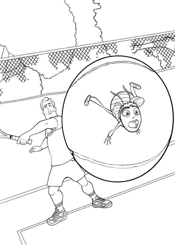 Bee Movie, : Barry Hit by Tennis Ball in Bee Movie Coloring Pages