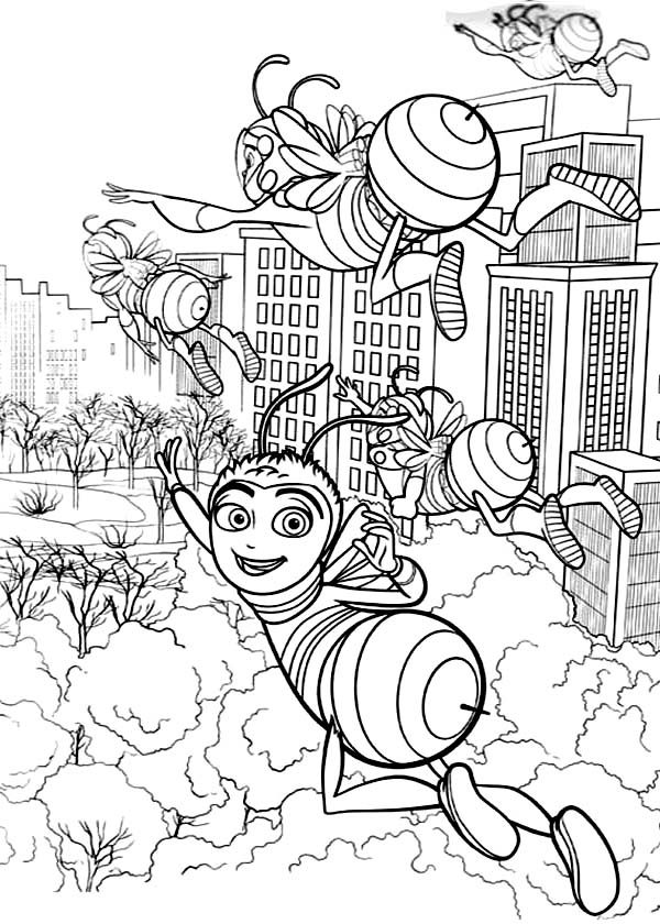 Bee Movie, : Barry and Friends Flying to Get Flowers in Bee Movie Coloring Pages