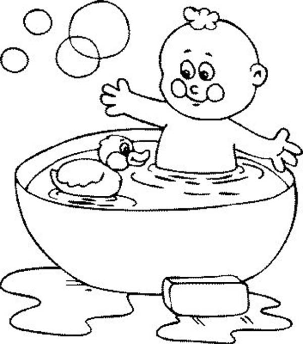 Bath, : Bath with Rubber Duck and Bubbles Coloring Pages