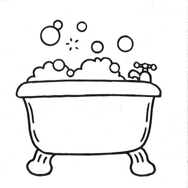 Bath, : Bathtub Full of Bubbles for Bath Coloring Pages
