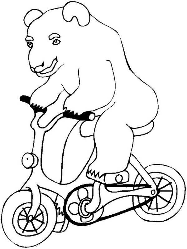 Circus and Carnival, : Bear Ride Bicycle Show at Circus and Carnival Coloring Pages