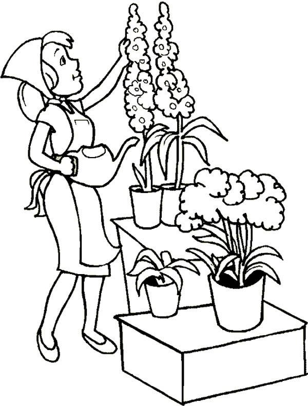 Gardening, : Beautiful Flower Gardening Coloring Pages