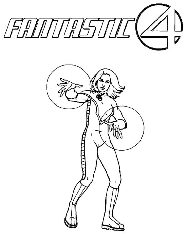 Fantastic Four, : Beautiful Invisible Girl from Fantastic Four Coloring Pages