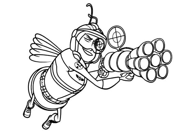 Bee Movie, : Bee Soldier Try to Shoot in Bee Movie Coloring Pages
