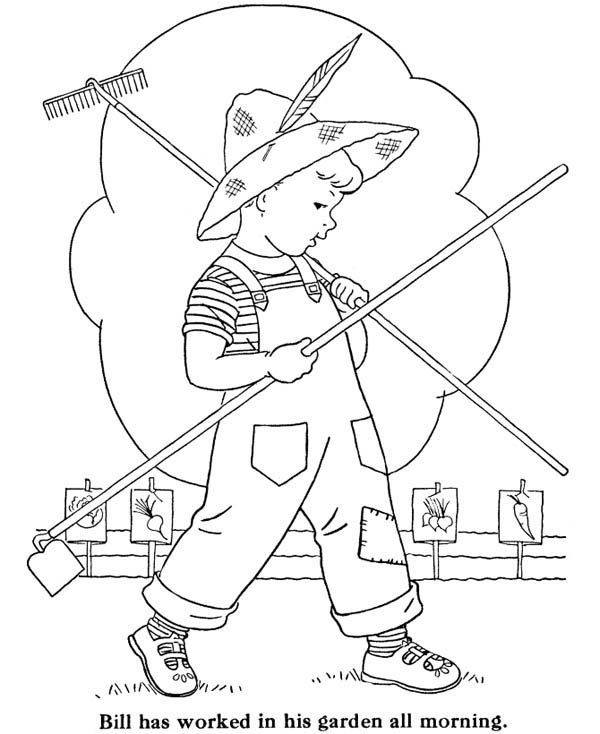 Gardening, : Bill Doing Gardening All Morning Coloring Pages
