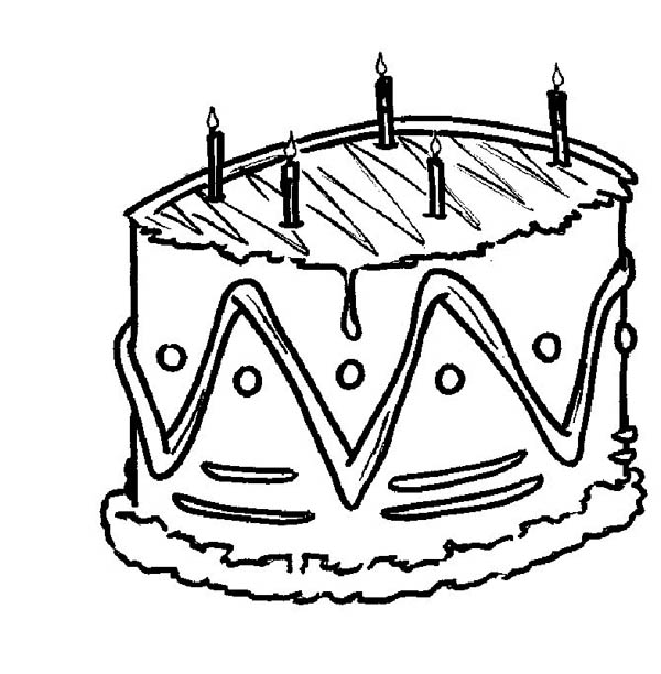 Foods, : Birthday Cake Food Coloring Pages