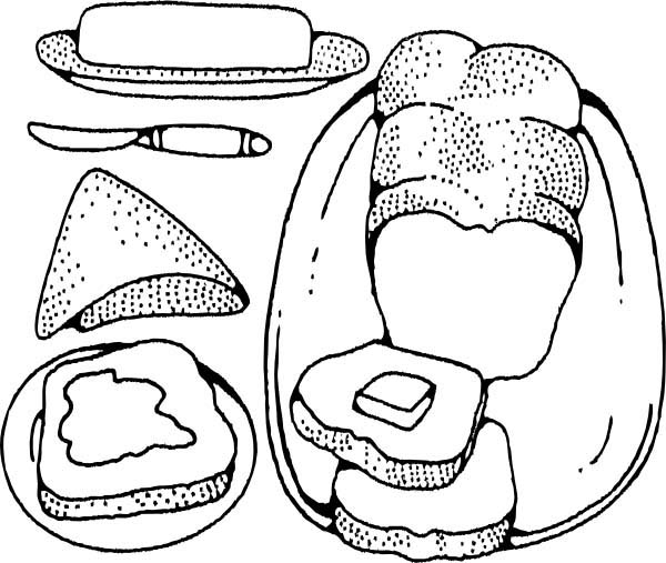 Bakery, : Bread Butter and Cheese in Bakery Coloring Pages