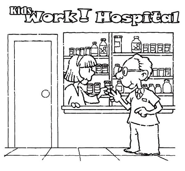 Hospital, : Buying Medicine at Hospital Coloring Pages