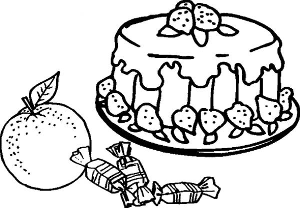 Foods, : Cake Decorated with Strawberry Food Coloring Pages