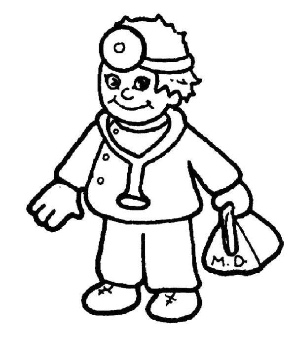 Hospital, : Cartoon Hospital Doctor Coloring Pages